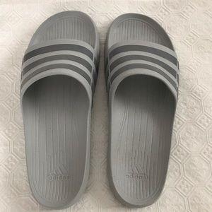 Adidas men's grey slip on sandal size 11